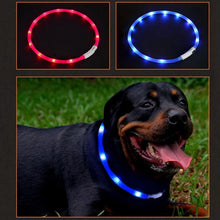 Dog Collar Adjustable USB Rechargeable Night Safety Silicone LED Dog Collar for Dog Cut to Resize