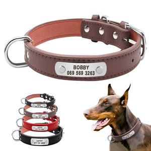 Durable Padded PU Leather Dog Collar with Customized ID Tag for Small Medium Large Dog
