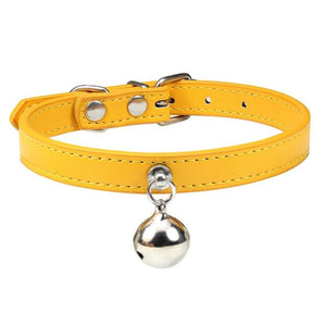Gold Cat Collar / S2 Solid Leather Cat Collar With Bell in sizes XS/S/M, 16 colors