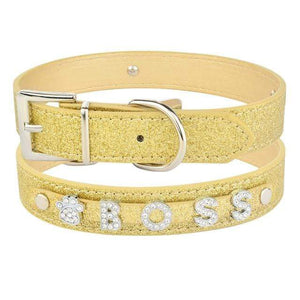 Gold / XS 20-26cm / China Personalized Leather Rhinestone Bling Dog Collar with Charms for Dogs Name