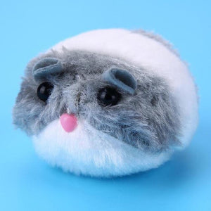 Gray Winding Interactive Plush Fur Snailhouse Mouse Cat Toy with Shake Movement