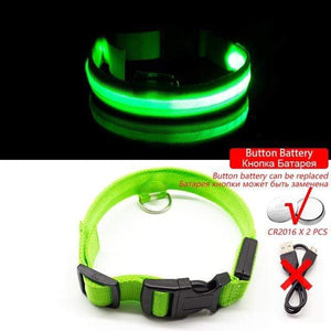 Green Button Battery / XL NECK 52-60 CM Anti-lost/Avoid Car Accident All Seasons Striped USB Charging LED Dog Collar For Dog