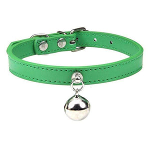 Green Cat Collar / S2 Solid Leather Cat Collar With Bell in sizes XS/S/M, 16 colors