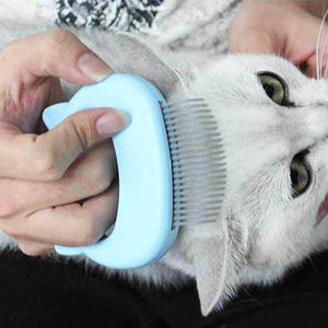 Grooming + Massage Brush/Hair Remover with Shell Shaped Handle for Cat Grooming and Massage