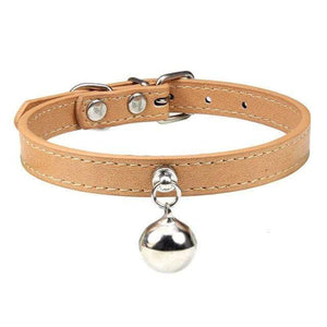 Khaki Cat Collar / XS Solid Leather Cat Collar With Bell in sizes XS/S/M, 16 colors