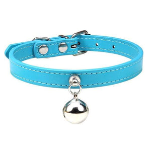 Lake Blue Cat Collar / S2 Solid Leather Cat Collar With Bell in sizes XS/S/M, 16 colors