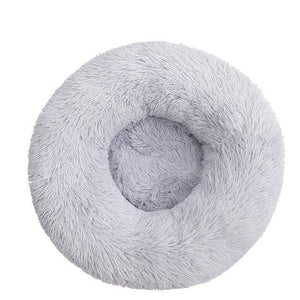 Light Grey / S-50CM / China Round Long Plush Winter Dog Beds for Large Dogs