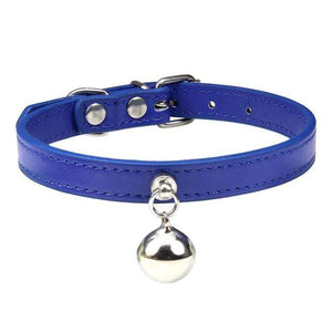 Navy Blue Cat Collar / S1 Solid Leather Cat Collar With Bell in sizes XS/S/M, 16 colors