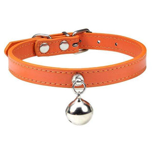 Orange Cat Collar / XS Solid Leather Cat Collar With Bell in sizes XS/S/M, 16 colors