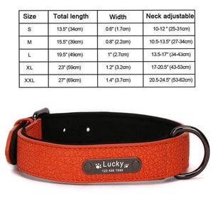 Orange Collar / M 8 Colors Personalized Leather Dog Collar for Pitbull Pug