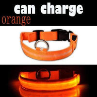 Orange / L USB Rechargeable LED Dog Collar