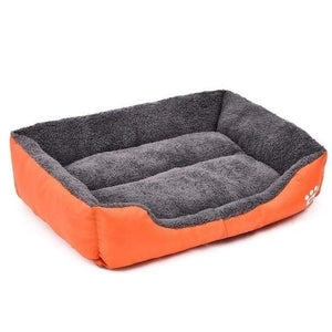 Orange / M Large Waterproof Warm Cozy Soft Fleece Dog Bed 8 Colors