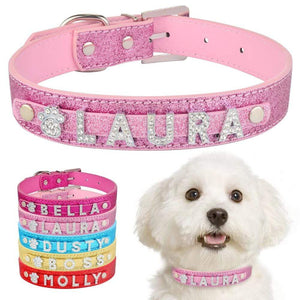 Personalized Dog Collar Leather Rhinestone Bling Charms Custom Pet Dogs Cat Name