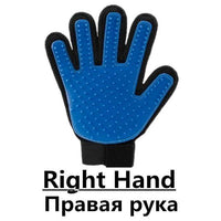 Pet Glove / Blue-Right Grooming Cleaning Gloves/Brush for Effective Deshedding/Back Massage for Cat
