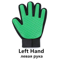 Pet Glove / Green-Left Grooming Cleaning Gloves/Brush for Effective Deshedding/Back Massage for Cat