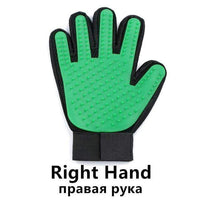Pet Glove / Green-Right Grooming Cleaning Gloves/Brush for Effective Deshedding/Back Massage for Cat