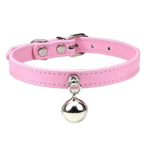 Pink Cat Collar / S1 Solid Leather Cat Collar With Bell in sizes XS/S/M, 16 colors