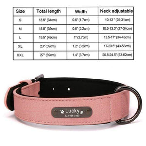 Pink Collar / S 8 Colors Personalized Leather Dog Collar for Pitbull Pug
