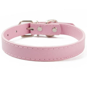 Pink / XL PU Leather Cat Collar in a Solid Pattern for Cat Kitten with Adjustable Strap