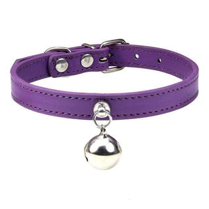 Purple Cat Collar / S2 Solid Leather Cat Collar With Bell in sizes XS/S/M, 16 colors