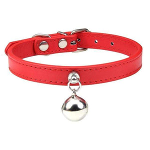 Red Cat Collar / S1 Solid Leather Cat Collar With Bell in sizes XS/S/M, 16 colors