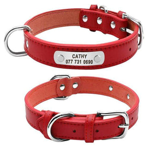 Red / L Durable Padded PU Leather Dog Collar with Customized ID Tag for Small Medium Large Dog