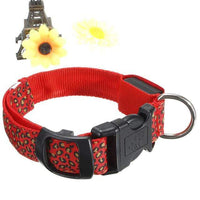 Red LED Dog Collar in Leopard Pattern