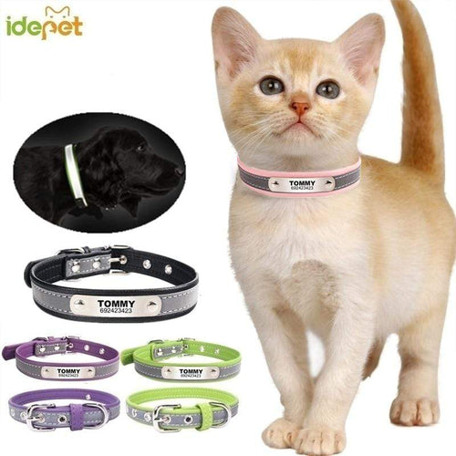 Reflective Leather Customized Cat Collar with ID Tag for Name Phone Number
