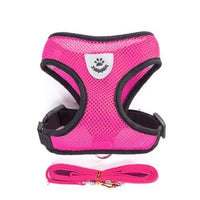 rose / S Breathable Small Dog Collar/Harness and Leash Set For Chihuahua Pug Bulldog