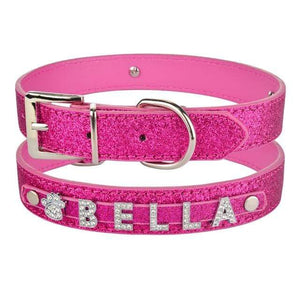 Rosered / XS 20-26cm / China Personalized Leather Rhinestone Bling Dog Collar with Charms for Dogs Name