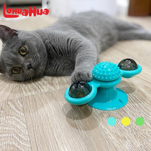Rotating Windmill Cat Toy With Catnip LED Ball for Massage Teeth Cleaning
