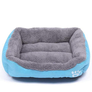 Sky-Blue / M Large Waterproof Warm Cozy Soft Fleece Dog Bed 8 Colors