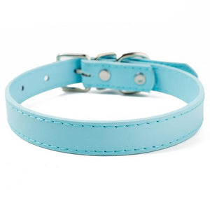 Sky Blue / XXS PU Leather Cat Collar in a Solid Pattern for Cat Kitten with Adjustable Strap