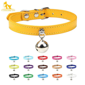 Solid Leather Cat Collar With Bell in sizes XS/S/M, 16 colors
