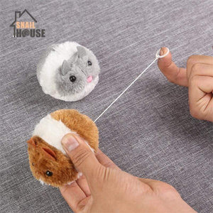 Winding Interactive Plush Fur Snailhouse Mouse Cat Toy with Shake Movement