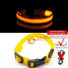 Yellow ButtonBattery / XL NECK 52-60 CM Anti-lost/Avoid Car Accident All Seasons Striped USB Charging LED Dog Collar For Dog