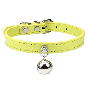 Yellow Cat Collar / XS Solid Leather Cat Collar With Bell in sizes XS/S/M, 16 colors