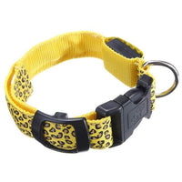 Yellow LED Dog Collar in Leopard Pattern