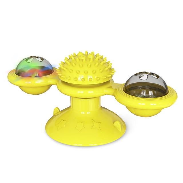 Yellow / Without Box Rotating Windmill Cat Toy With Catnip LED Ball for Massage Teeth Cleaning