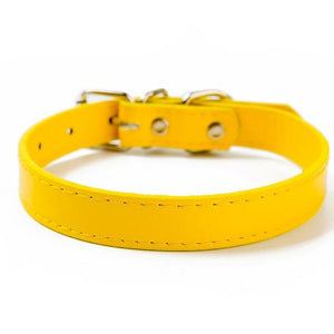 Yellow / XXS PU Leather Cat Collar in a Solid Pattern for Cat Kitten with Adjustable Strap