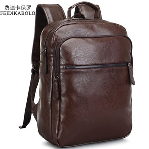 2017 Men Leather Backpack High Quality Youth Travel Rucksack School Book Bag Male Laptop Business bagpack mochila Shoulder Bag - www.rentpadofw.com