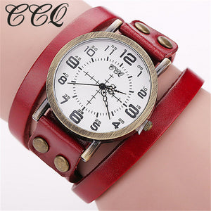 CCQ 2016 Vintage Cow Leather Bracelet WristWatch Luxury Casual Women Quartz Watch Relogio Feminino 1347 - www.rentpadofw.com