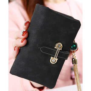 Aosbos fashion short matte ladies wallet vintage tassel zipper and hasp womens wallets and purses Money Bag free shipping 026-2 - www.rentpadofw.com