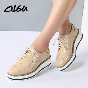 O16U Women Platform Oxfords Brogue Flats Shoes Patent Leather Lace Up Pointed Toe Brand Female Footwear Shoes for women Creepers - www.rentpadofw.com