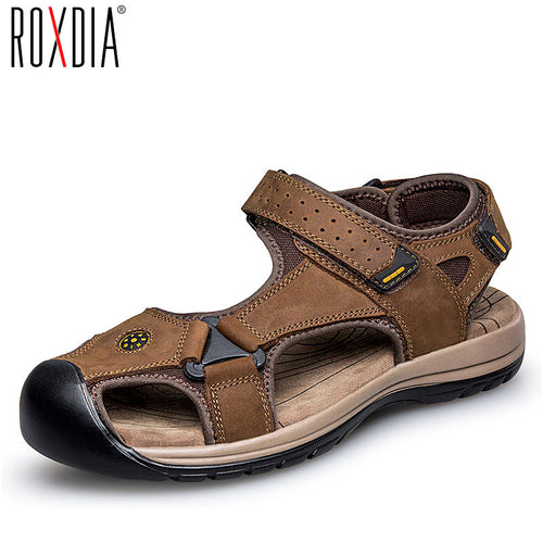 ROXDIA genuine leather men sandals summer cow leather new for beach male shoes mens gladiator sandal 39-46 RXM048 - www.rentpadofw.com