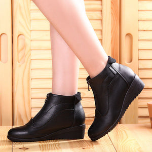 Ankle Boots Shoes Woman Fashion woman boots Autumn Winter Boots leather shoes zip - www.rentpadofw.com