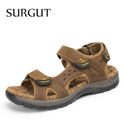 SURGUT Hot Sale New Fashion Summer Leisure Beach Men Shoes High Quality Leather Sandals The Big Yards Men's Sandals Size 38-45 - www.rentpadofw.com