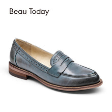 BeauToday Penny Loafer Women Sheepskin Moccasin Genuine Leather Slip On Pointed Toe Flats Casual Dress Shoes Handmade 27013 - www.rentpadofw.com