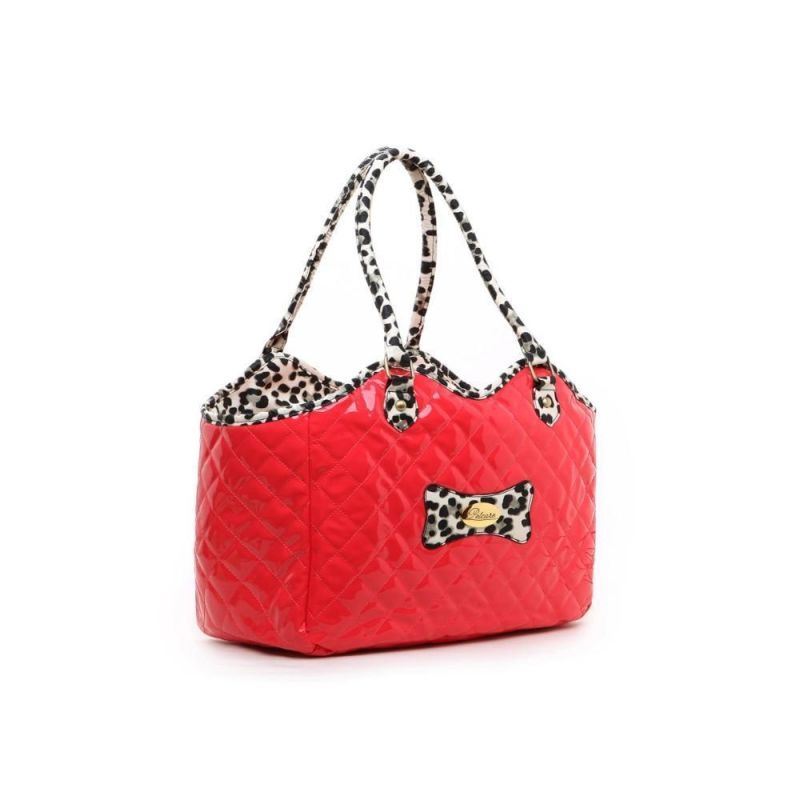 Pet Carrier Bag Hot Red And Leopard Style | Dog Purse