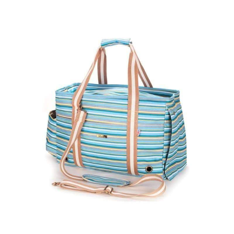 Pet Carrier Bag Summer Blue Striped Pup Tote | Dog Travel